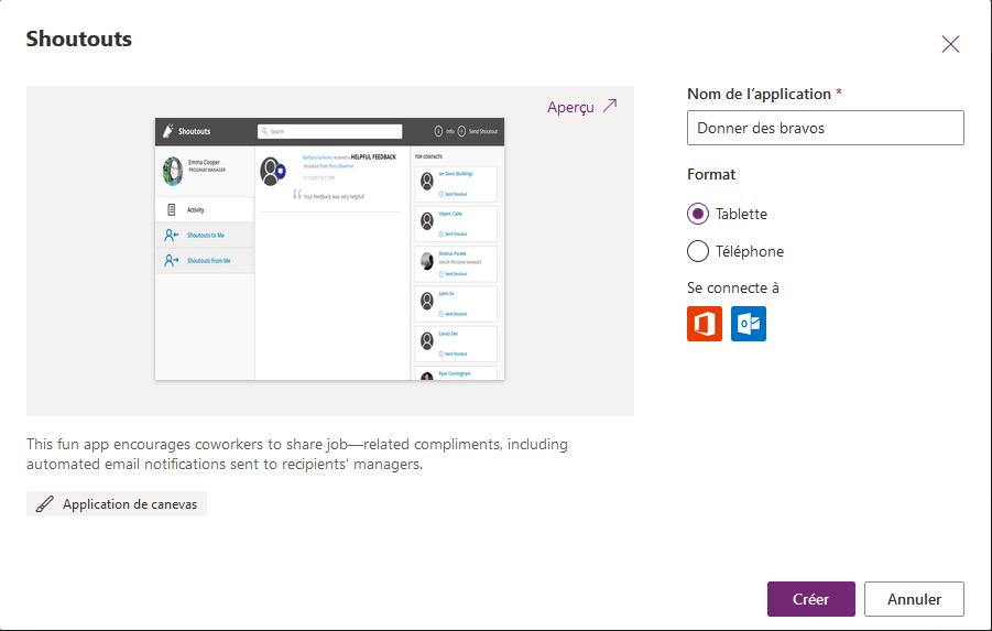 Application PowerApps canevas basée sur un modèle