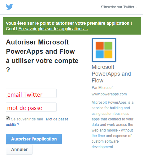 Autoriser Microsoft PowerApps and Flow sur Twitter