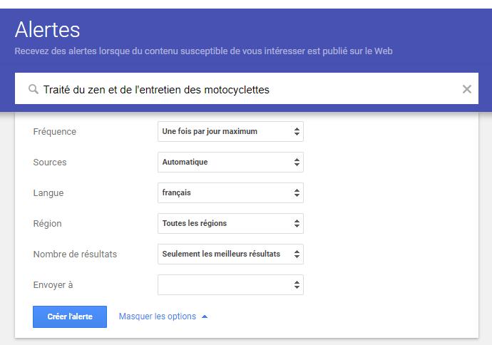 Paramètres de Google Alertes