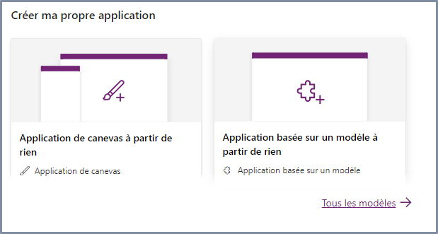 Créer ma propre application Power Apps
