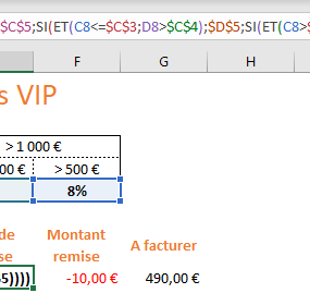 Fonction SI(), ET() dans Excel