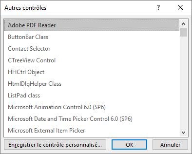 Liste des contrôles