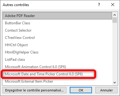 Microsoft Date and Time Picker Control 6.0 (SP6)