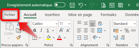 Ruban Fichier Excel