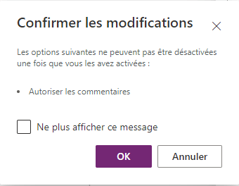 Confirmer les modifications