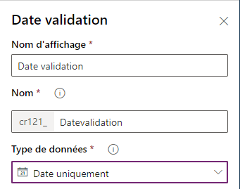 Création du champ Date validation