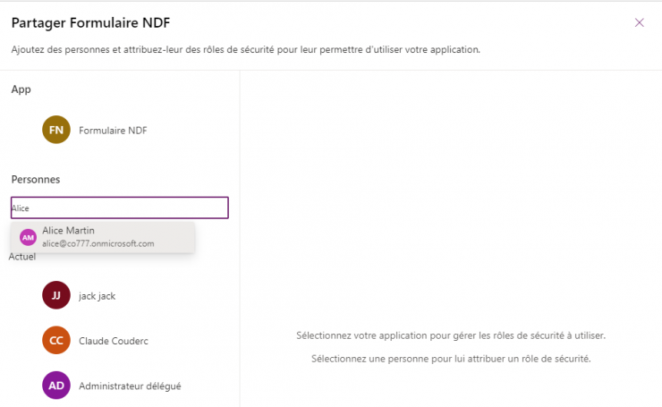 Partage application Power Apps