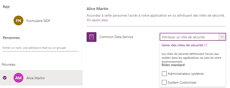 Partage application Power Apps en cours