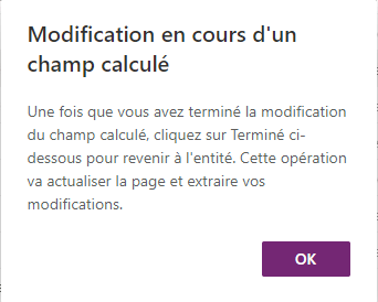 Modification en cours d'un champ calculé