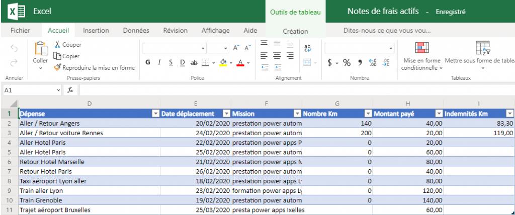 Modification des données dans Excel Online