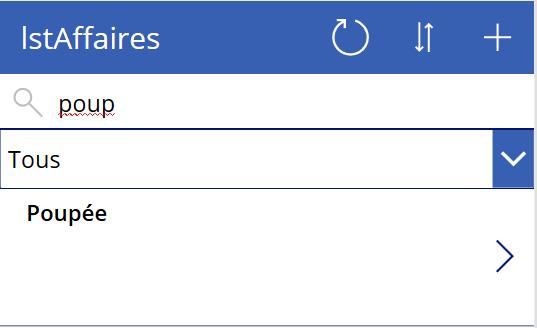 Liste filtrée (vue partielle)
