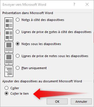 Envoyer vers Microsoft Word
