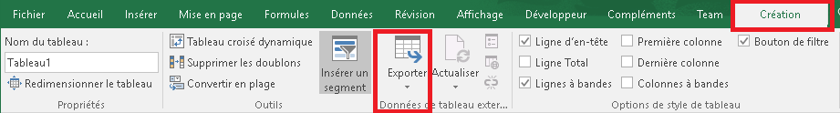 Ruban CRÉATION avec le menu Exporter