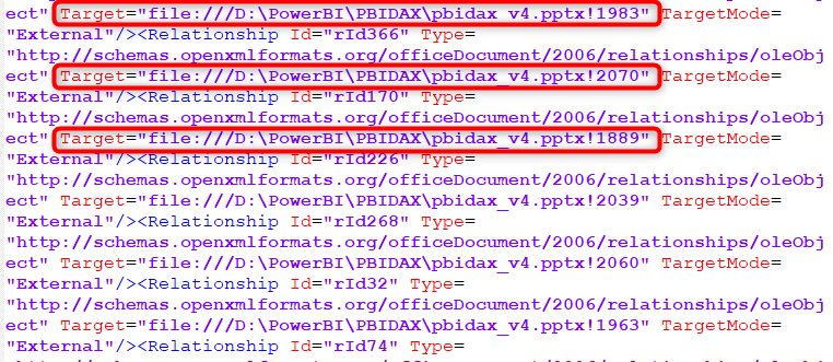 Target File de document.xml.rels