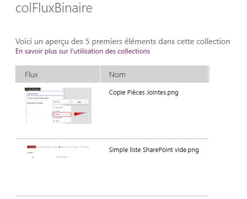 Collection Flux Binaire Contenu