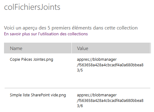 Contenu Collection Fichiers Joints