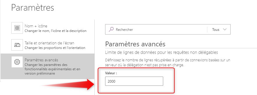 Power Apps Limite 2000 lignes maximum