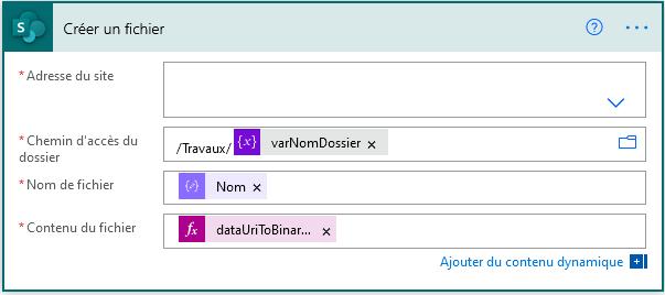 Power Automate Contenu et nom de fichier
