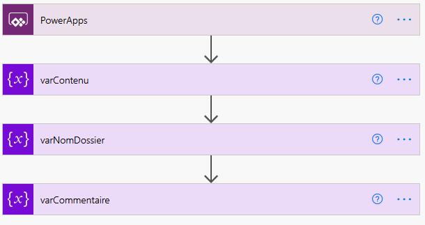 Power Automate Création des variables