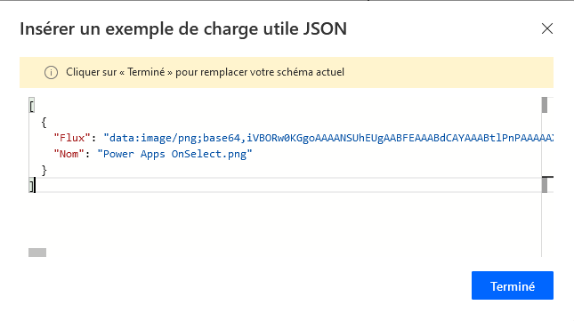 Power Automate Exemple charge utile JSON
