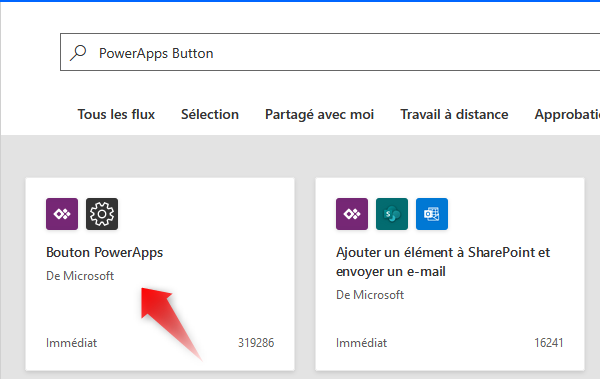 Power Automate Modèles Power Apps (extrait)