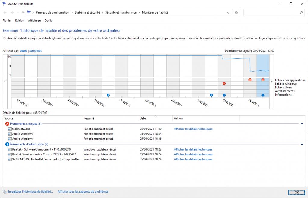 Moniteur de fiabilité Windows 10