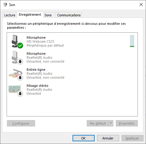 Onglet Enregistrement Audio Windows 10