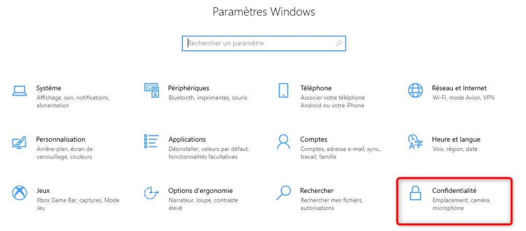 Paramètres Windows