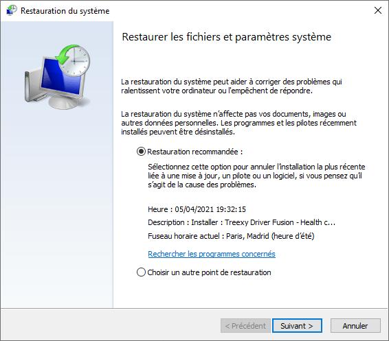 Restauration du système Windows 10