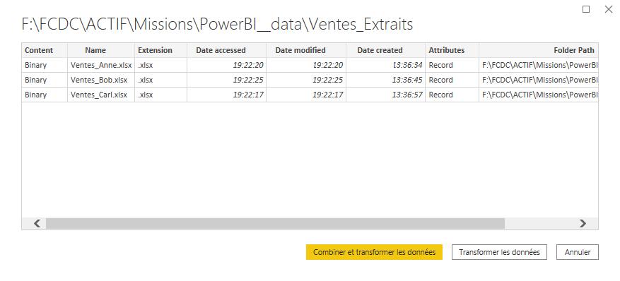 Connexion à un dossier dans Power BI Desktop