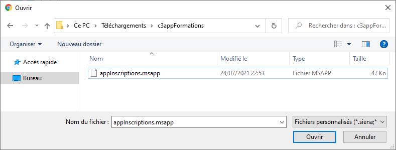 Ouvrir le fichier .msapp