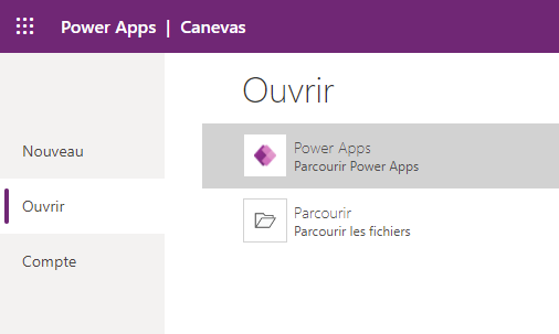 Page Ouvrir des applications Power Apps